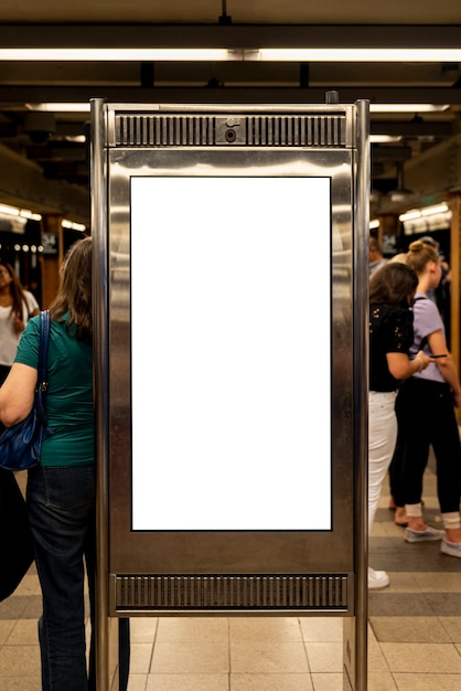 Mock-up billboard in a metro station Free Photo