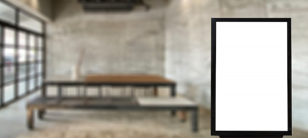 Mock up blank advertising billboard in cafe empty space for advertisement Premium Photo