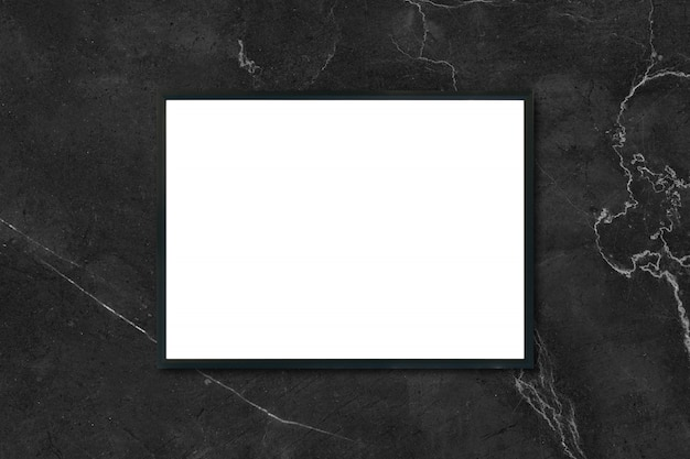 Mock up blank poster picture frame hanging on black marble wall in room - can be used mockup for montage products display and design key visual layout. Free Photo