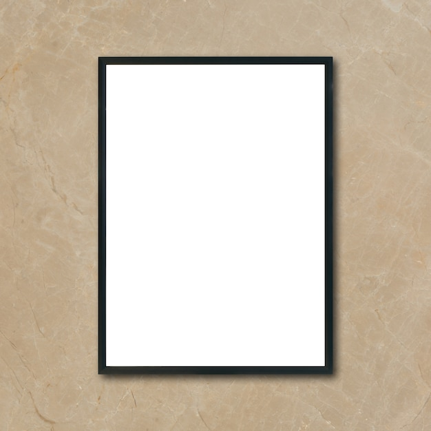 mock up blank poster picture frame hanging on brown marble wall in