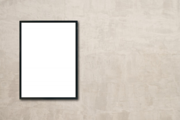 mock up blank poster picture frame hanging on wall in room photo