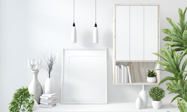 Mock up cabinet in modern white room Premium Photo