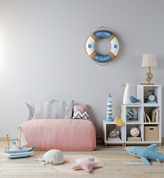 Mock up children room interior background, pink sofa and toys. scandinavian style, sea style, 3d rendering Premium Photo