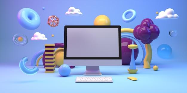 컴퓨터와 기하학 도형으로 구성을 모의 프리미엄 사진