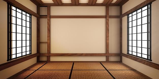 モックアップ、具体的には日本風のデザイン、空き部屋。 3dレンダリング Premium写真