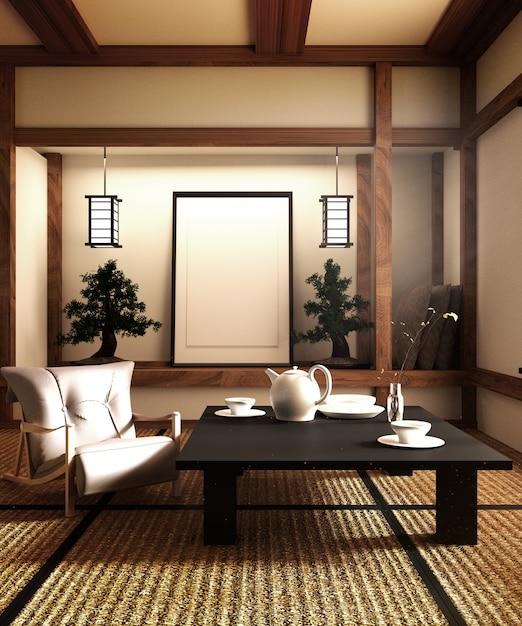 モックアップ、日本式、リビングルーム専用に設計されています。 3dレンダリング Premium写真
