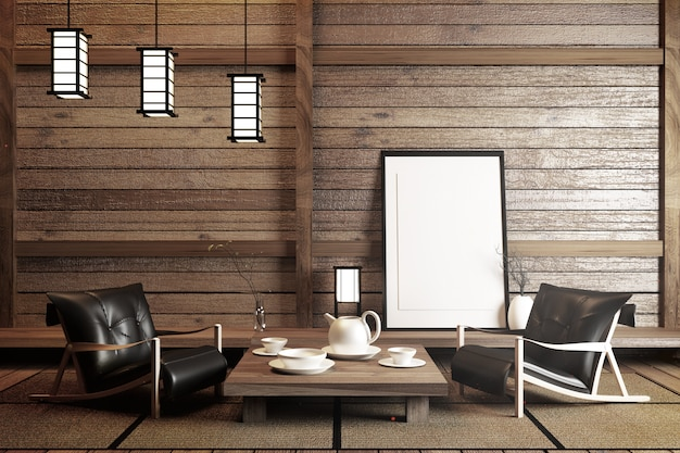 Mock up, designed specifically in japanese style, empty room. 3d rendering Premium Photo