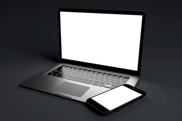 Mock up of devices on a dark - 3d rendering Premium Photo