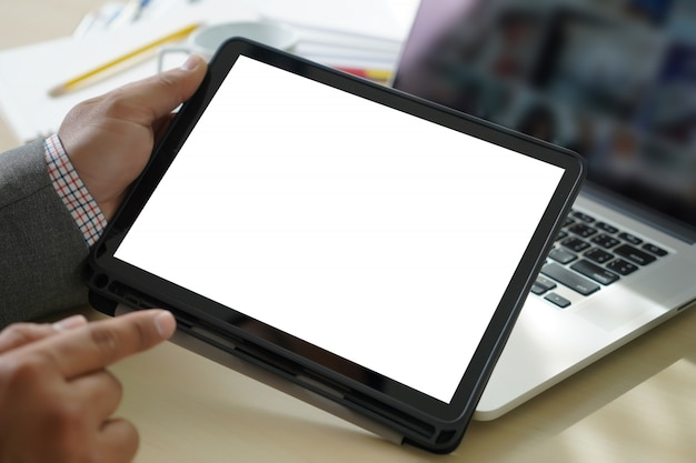 Mock up  digital tablet computer with isolated screen Premium Photo