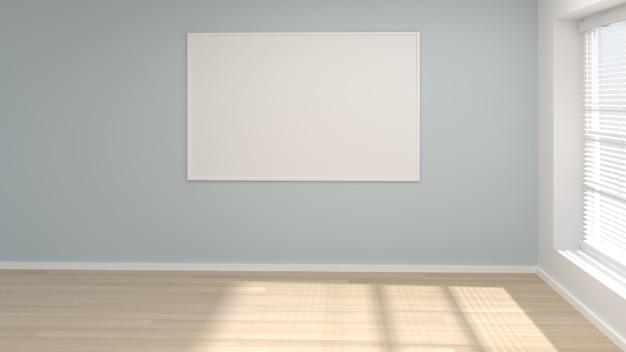 . Mock up empty room poster frame minimal concept interior design