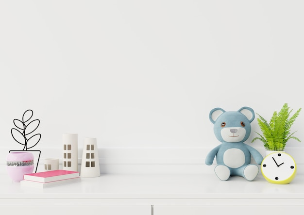 Mock up empty space in child room interior,3d rendering Premium Photo