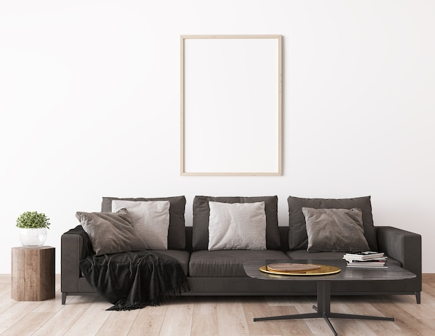 Mock up frame in scandinavian living room design, home decor with dark sofa Premium Photo