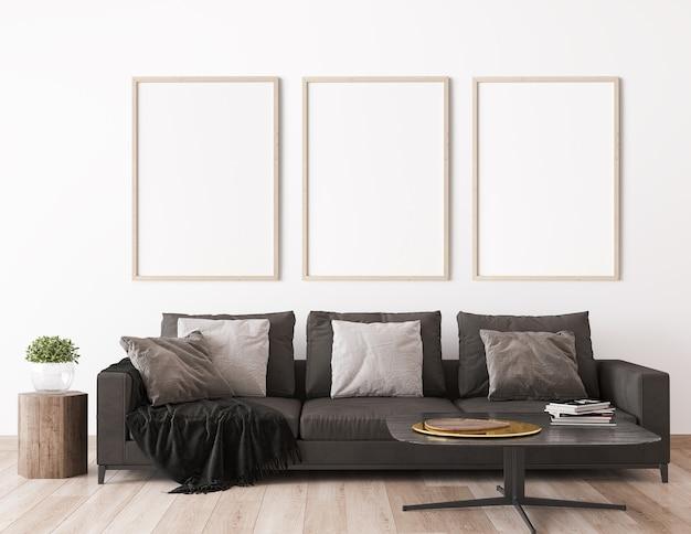 Mock up frame in scandinavian living room design, home decor with dark sofa Premium Photo