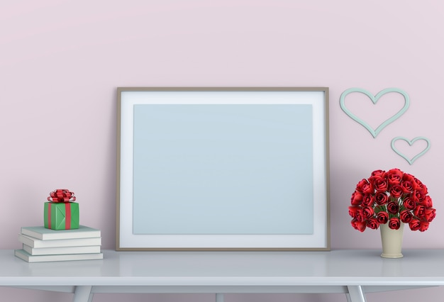 Mock up frame with rose Premium Photo