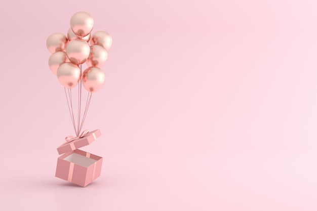 Mock up of gift box and balloons in minimal style. Premium Photo
