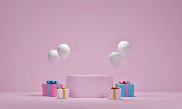 Mock up of gift box and balloons with platform for cosmetic product presentation on pink background. 3d rendering. Premium Photo