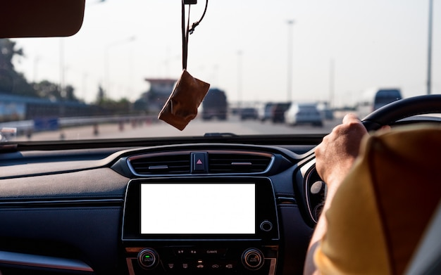 Mock up of isolated blank screen monitor in car for your advertising. Premium Photo