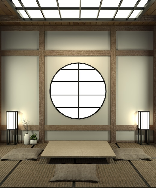 Mock up japan room with tatami mat floor and decoration japan style was designed in japanese style. Premium Photo