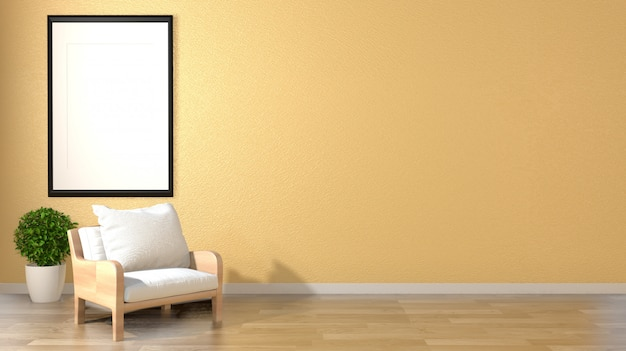 Mock up living room interior zen style with armchair frame and plants on empty yellow wall background. Premium Photo