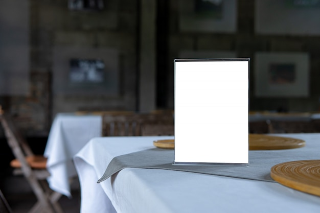 Mock up menu object in cafe and restaurant Premium Photo