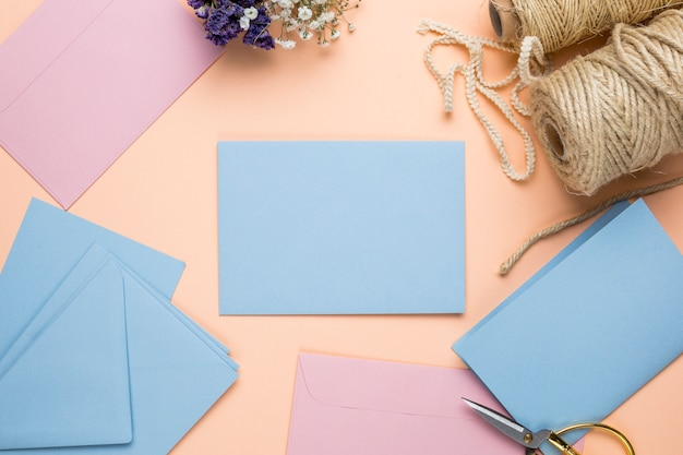 Mock up pink and blue wedding invitations Free Photo
