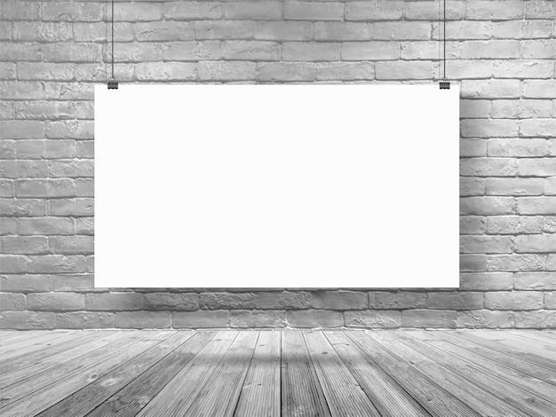 Mock up poster banner hanging on white brick wall room Premium Photo