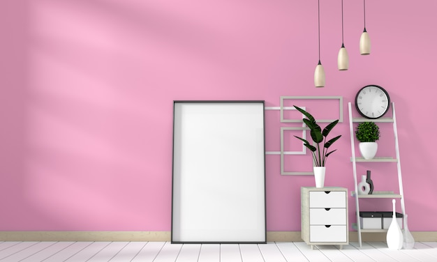Mock up poster cabinet modern in pink living room with white wooden floor. 3d rendering Premium Photo