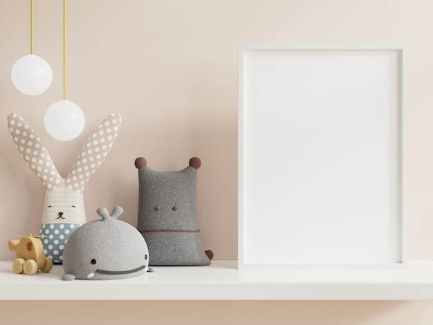 Mock up poster in child room interior, posters on empty white wall Premium Photo