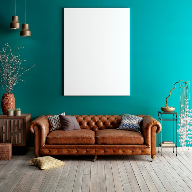 Mock up poster in classic living room. Premium Photo
