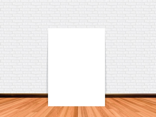 Mock up poster in empty room background with wooden floor brick wall. Premium Photo