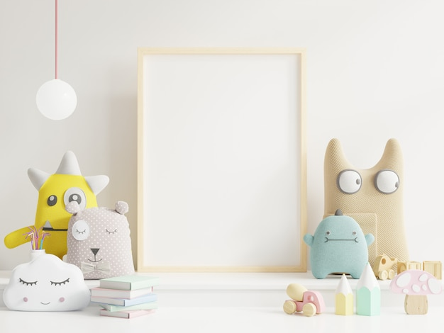 Mock up poster frame in child's room Premium Photo
