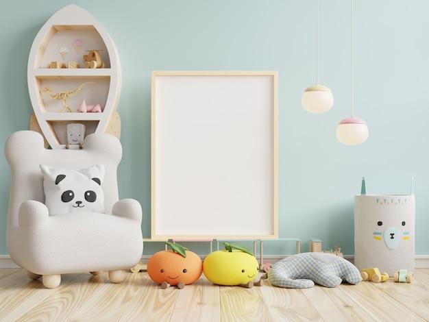 Mock up poster frame in children room on blue wall, 3d rendering Premium Photo