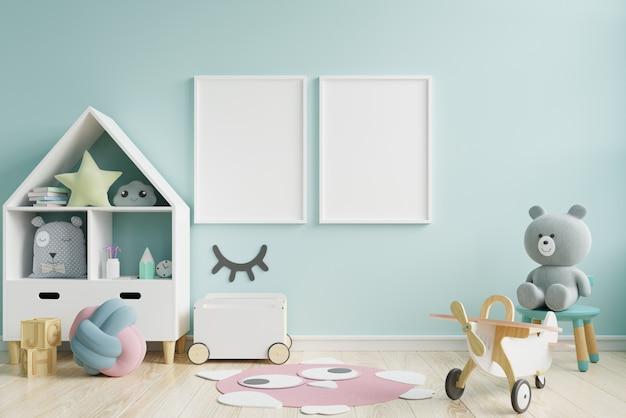 Mock up poster frame in children room,kids room,nursery mockup,blue wall. Premium Photo