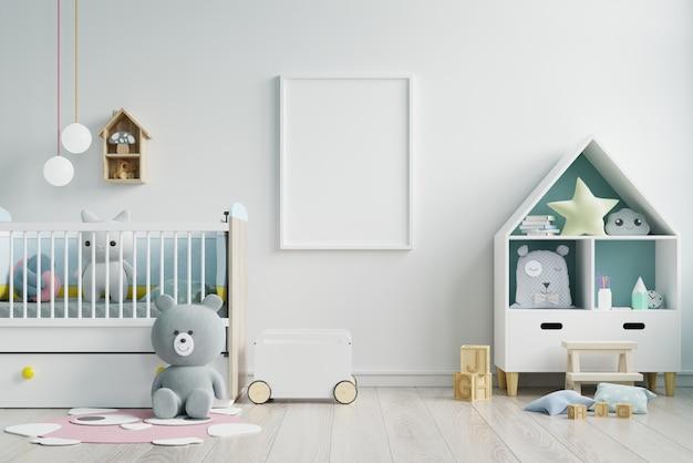Mock up poster frame in children room,kids room,nursery mockup,white wall. Premium Photo