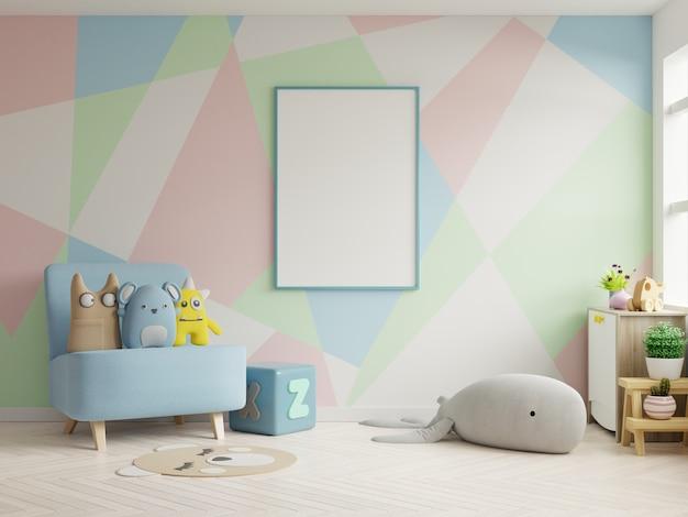 Mock up poster frame in children room Premium Photo