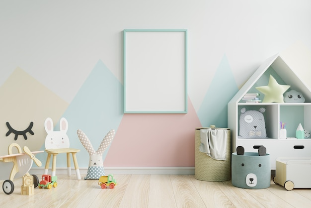 Mock up poster frame in children's room Premium Photo