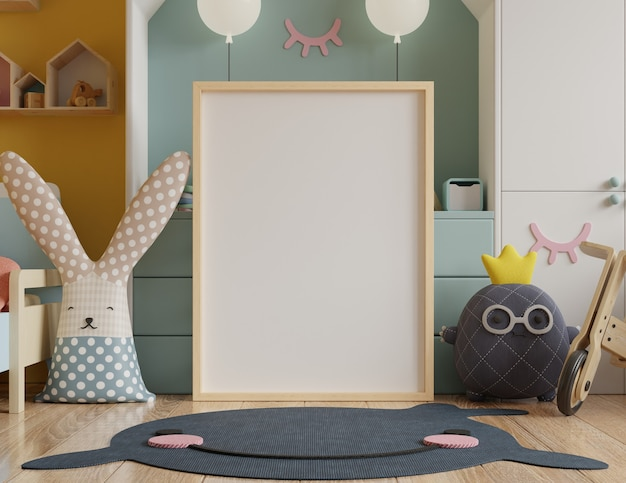 Mock up poster frame in children's room Premium Photo
