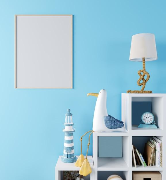 어린이 방, 파란색 벽, 3d 렌더링, 3d 일러스트와 함께 스칸디나비아 스타일의 인테리어 배경 포스터 프레임을 조롱 프리미엄 사진