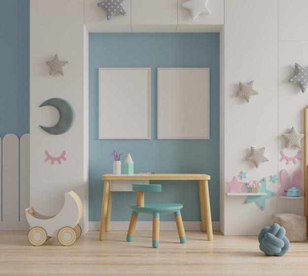 Макет рамы для постеров в детской комнате Premium Фотографии