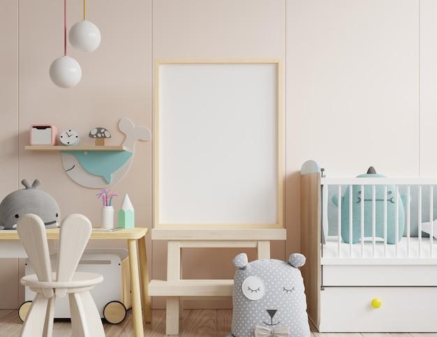 어린이 방에서 포스터 프레임 모의 프리미엄 사진