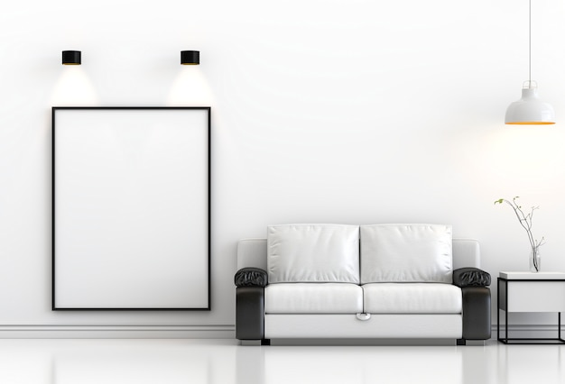 Poster mockup in modern interior with lamps d rendering
