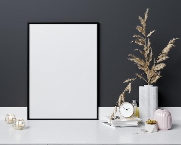 Макет кадр-афишу в современном интерьере, скандинавском стиле, 3d-рендеринг Premium Фотографии