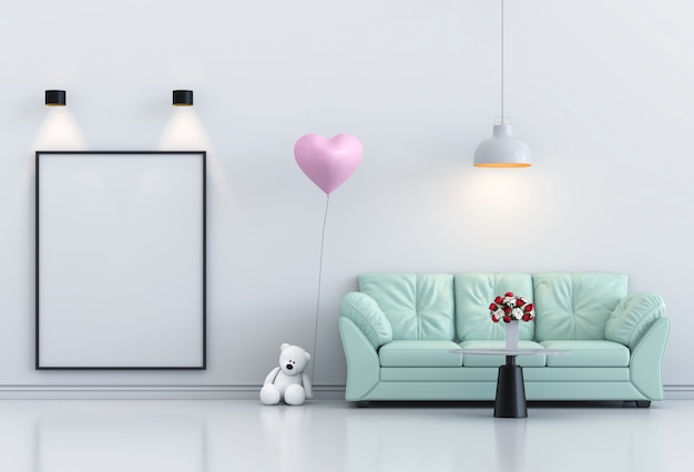Mock up poster frame interior living room and sofa, pink balloon. 3d render Premium Photo