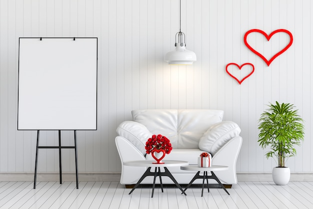 Mock up poster frame interior living room with sofa, rose and gift valentine. Premium Photo