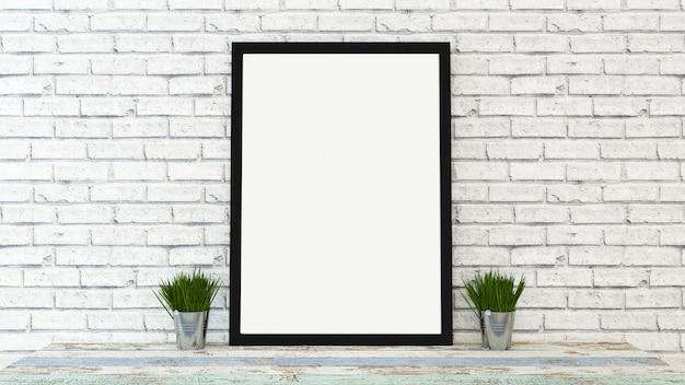 Mock up poster frame with interior background, 3d render Premium Photo