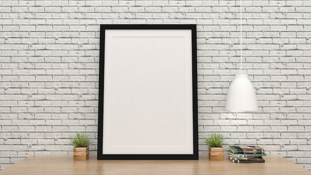 Mock up poster frame with interior background, 3d render Premium Photo
