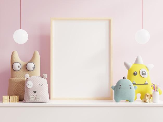 어린이 방에서 포스터를 모의 프리미엄 사진