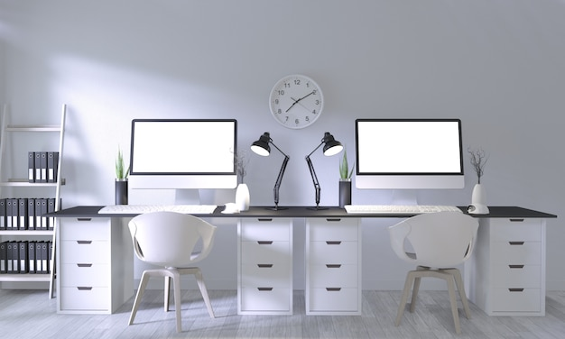 Mock up poster office with white comfortable design and decoration on white room and white wooden floor Premium Photo