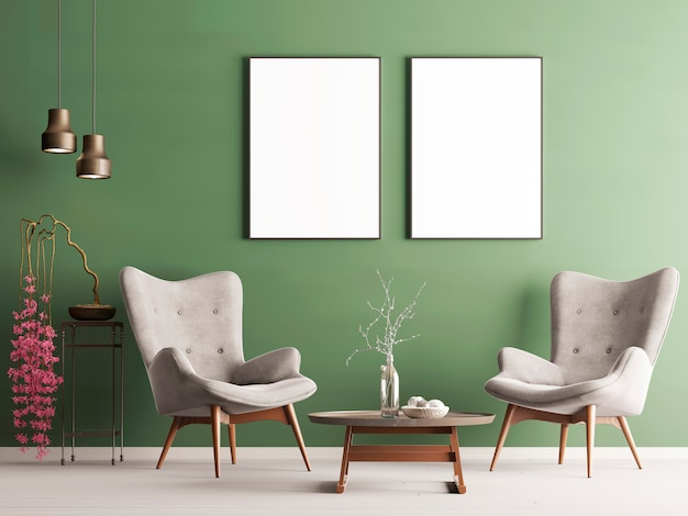 Mock up poster in pastel modern interior with green wall, soft armchairs, plant and lamps. 3d rendering Premium Photo