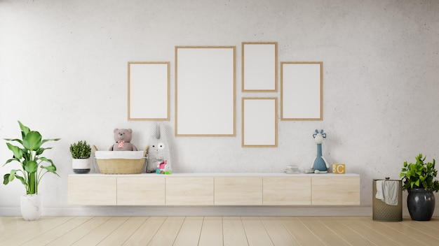 Mock up poster with vintage pastel hipster minimalist on cabinet. Premium Photo